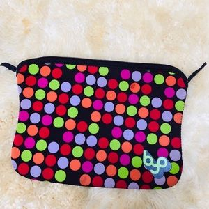Byo neoprene rainbow polka dot laptop zipper case